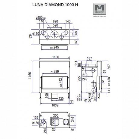 Каминная топка M-design Diamond + 1000 H