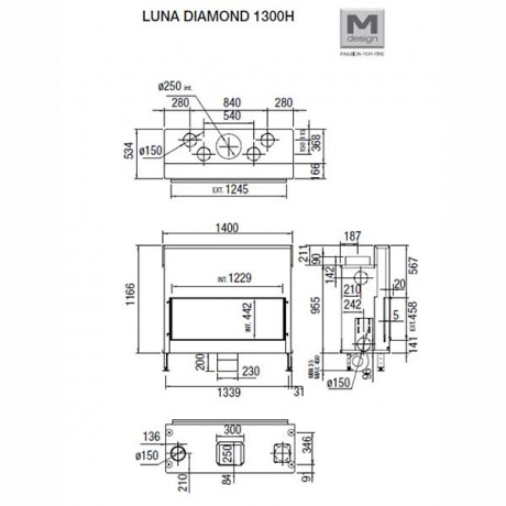 Каминная топка M-design Diamond 1300 H
