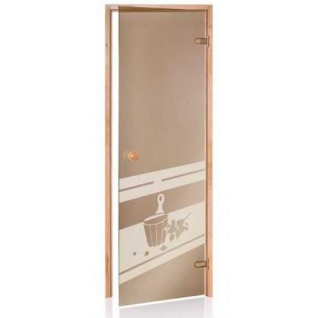 Двери для сауны Andres бронза з малюнком SDD-3
